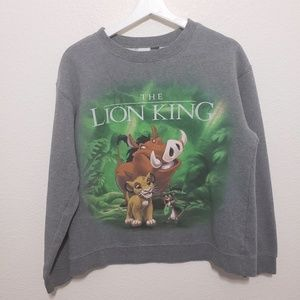 Disney Lion King Sweatshirt Graphic Gray Medium